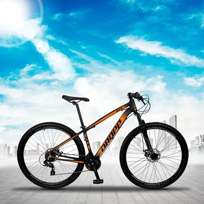 Bicicleta Aro 29 Quadro 17 Alumínio 24 Marchas Freio Disco Mecânico Z4-X Preto/Laranja - Dropp