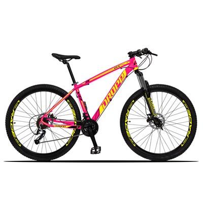 Bicicleta Aro 29 Quadro 17 Alumínio 27 Marchas Freio Disco Hidráulico Z3-X Rosa/Amarelo - Dropp