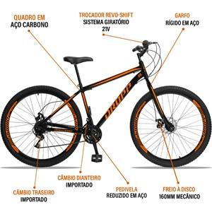 Bicicleta Aro 29 Quadro 19 Aço 21 Marchas Freio a Disco Mecânico Preto/Laranja - Dropp