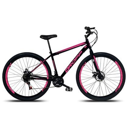 Bicicleta Aro 29 Quadro 19 Aço 21 Marchas Freio a Disco Mecânico Preto/Pink - Dropp