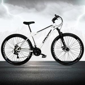 Bicicleta Aro 29 Quadro 19 Aço 21 Marchas Suspensão Freio a Disco Mecânico Branco/Preto - Dropp
