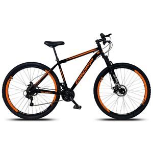 Bicicleta Aro 29 Quadro 19 Aço 21 Marchas Suspensão Freio a Disco Mecânico Preto/Laranja - Dropp