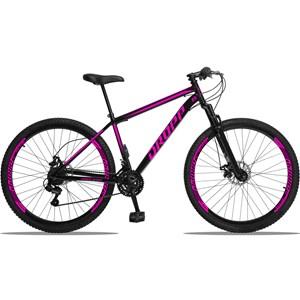 Bicicleta Aro 29 Quadro 19 Aço 21 Marchas Suspensão Freio a Disco Mecânico Preto/Rosa - Dropp
