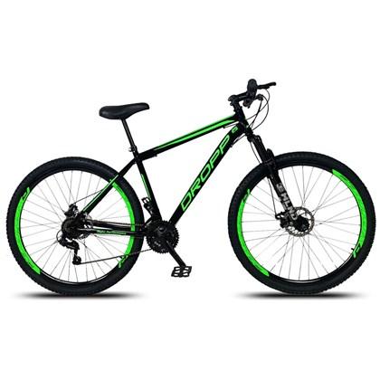 Bicicleta Aro 29 Quadro 19 Aço 21 Marchas Suspensão Freio a Disco Mecânico Preto/Verde - Dropp