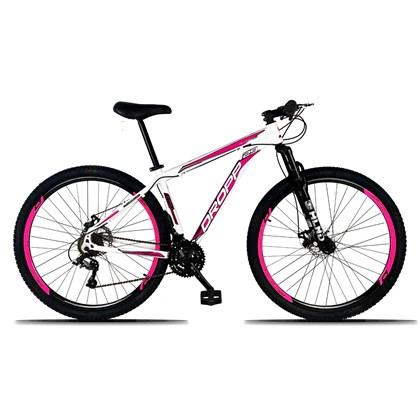 Bicicleta Aro 29 Quadro 19 Alumínio 21 Marchas Freio a Disco Mecânico Branco/Rosa - Dropp