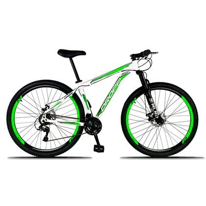 Bicicleta Aro 29 Quadro 19 Alumínio 21 Marchas Freio a Disco Mecânico Branco/Verde - Dropp