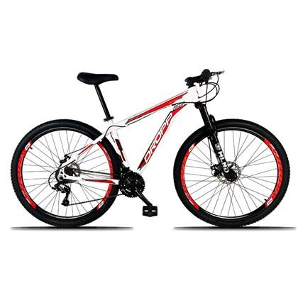 Bicicleta Aro 29 Quadro 19 Alumínio 21 Marchas Freio a Disco Mecânico Branco/Vermelho - Dropp