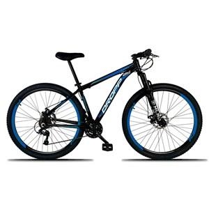 Bicicleta Aro 29 Quadro 19 Alumínio 21 Marchas Freio a Disco Mecânico Preto/Azul - Dropp