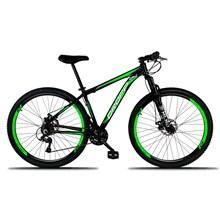 Bicicleta Aro 29 Quadro 19 Alumínio 21 Marchas Freio a Disco Mecânico Preto/Verde - Dropp