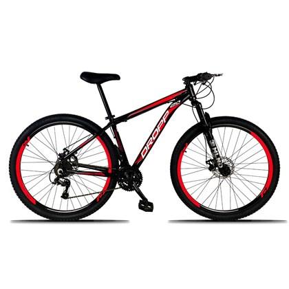 Bicicleta Aro 29 Quadro 19 Alumínio 21 Marchas Freio a Disco Mecânico Preto/Vermelho - Dropp