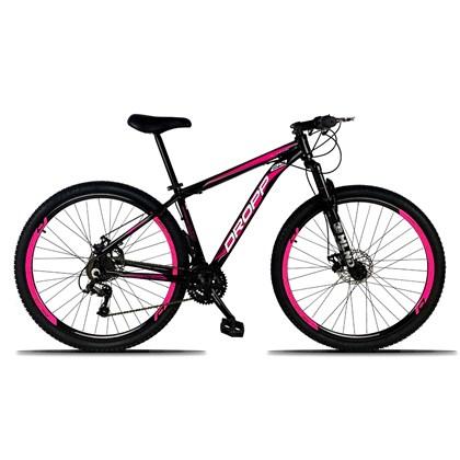 Bicicleta Aro 29 Quadro 21 Alumínio 21 Marchas Freio a Disco Mecânico Preto/Rosa - Dropp