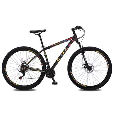 Bicicleta Atalanta Aro 29 Alumínio 21v Câmbio Tras. Shimano Freio Mecânico Preto Colors - Colli Bike