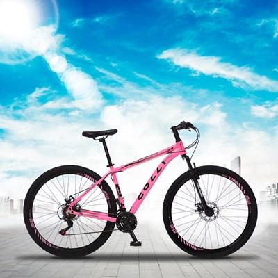 Bicicleta Atalanta Aro 29 Alumínio 21v Câmbio Traseiro Shimano Freio Mecânico Rosa Neon - Colli Bike