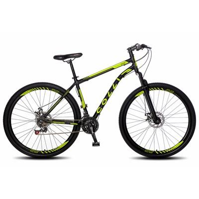 Bicicleta Athena Aro 29 Aço 21v Suspensão Dianteira Freio Mecânico Preto/Amarelo Neon - Colli Bike