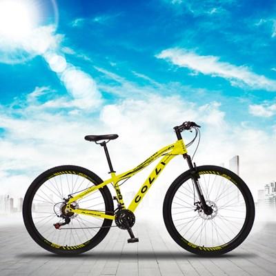 Bicicleta Euphora Aro 29 Alumínio 21v Câmbio Tras. Shimano Freio Mecânico Amarelo Neon - Colli Bike