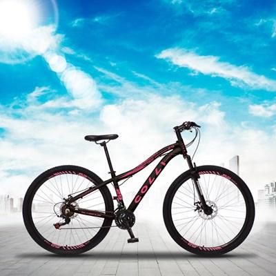 Bicicleta Euphora Aro 29 Alumínio 21v Câmbio Tras. Shimano Freio Mecânico Preto/Rosa - Colli Bike