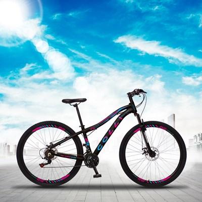 Bicicleta Euphora Aro 29 Alumínio 21v Câmbio Traseiro Shimano Freio Mecânico Rosa/Azul - Colli Bike
