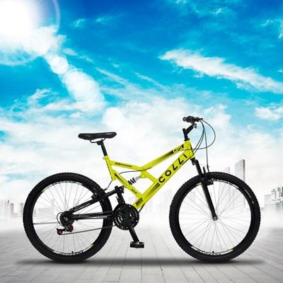 Bicicleta GPS Aro 26 Aço 21 Marchas Dupla Suspensão Freio V-Brake Amarelo Neon - Colli Bike
