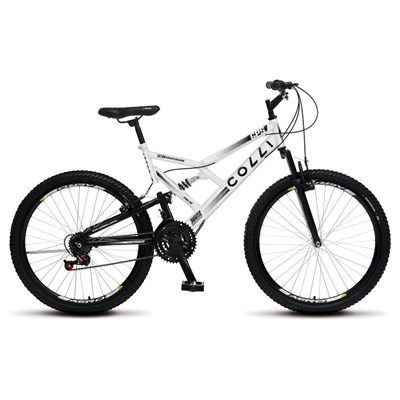 Bicicleta GPS Aro 26 Aço 21 Marchas Dupla Suspensão Freio V-Brake Branco - Colli Bike