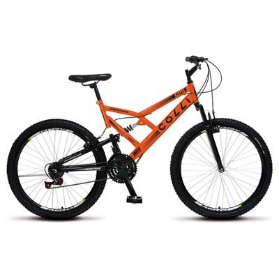 Bicicleta GPS Aro 26 Aço 21 Marchas Dupla Suspensão Freio V-Brake Laranja Neon - Colli Bike