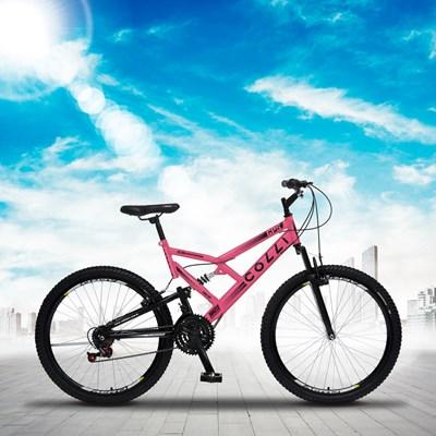Bicicleta GPS Aro 26 Aço 21 Marchas Dupla Suspensão Freio V-Brake Rosa Neon - Colli Bike