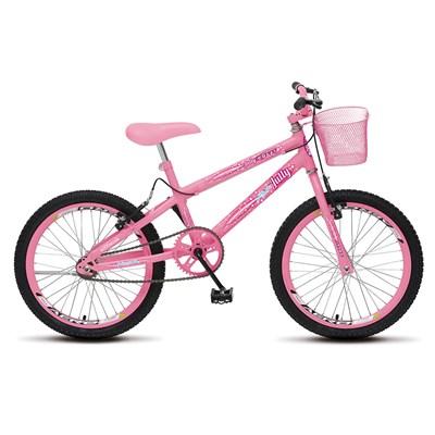 Bicicleta July Infantil Juvenil Aro 20 Aço com Cestinha e Freio V-Brake Rosa Neon - Colli Bike