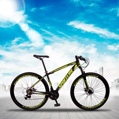 Bicicleta MTB Aro 29 Quadro 15 Alumínio 21 Marchas Freio Mecânico Vega Preto/Amarelo - Spaceline