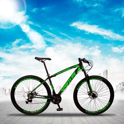 Bicicleta MTB Aro 29 Quadro 15 Alumínio 21 Marchas Freio Mecânico Vega Preto/Verde - Spaceline