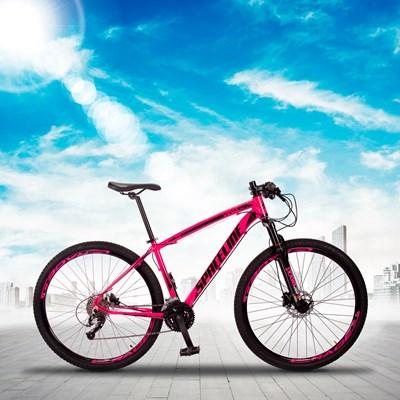 Bicicleta MTB Aro 29 Quadro 15 Alumínio 27 Marchas Freio Hidráulico Vega Rosa - Spaceline