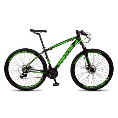 Bicicleta MTB Aro 29 Quadro 17 Alumínio 21 Marchas Freio Mecânico Vega Preto/Verde - Spaceline