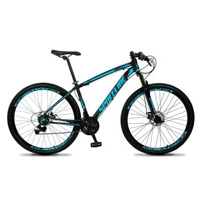 Bicicleta MTB Aro 29 Quadro 19 Alumínio 21 Marchas Freio Mecânico Vega Preto/Azul - Spaceline
