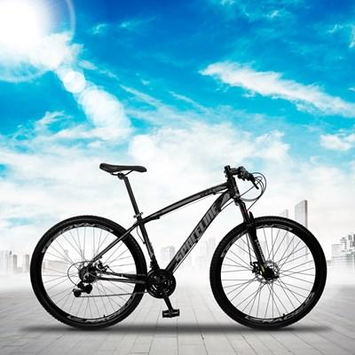 Bicicleta MTB Aro 29 Quadro 19 Alumínio 21 Marchas Freio Mecânico Vega Preto/Cinza - Spaceline