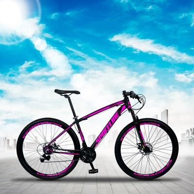 Bicicleta MTB Aro 29 Quadro 19 Alumínio 21 Marchas Freio Mecânico Vega Preto/Rosa - Spaceline