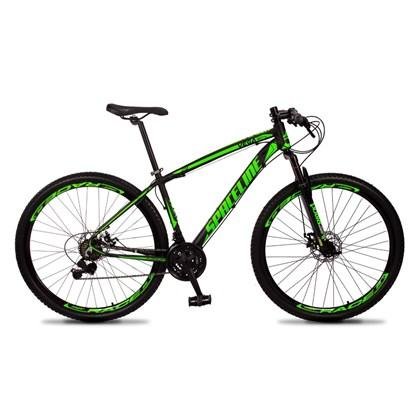 Bicicleta MTB Aro 29 Quadro 19 Alumínio 21 Marchas Freio Mecânico Vega Preto/Verde - Spaceline