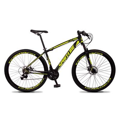 Bicicleta MTB Aro 29 Quadro 21 Alumínio 21 Marchas Freio Mecânico Vega Preto/Amarelo - Spaceline