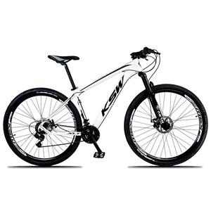 Bicicleta XLT Aro 29 Quadro 15 Alumínio 21 Marchas Suspensão Freio Disco Branco/Preto - KSW