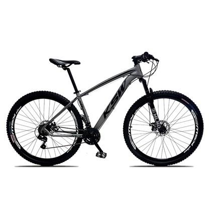 Bicicleta XLT Aro 29 Quadro 15 Alumínio 21 Marchas Suspensão Freio Disco Cinza/Preto - KSW