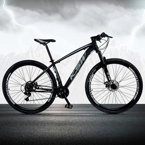 Bicicleta XLT Aro 29 Quadro 15 Alumínio 21 Marchas Suspensão Freio Disco Preto/Cinza - KSW
