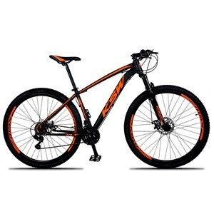 Bicicleta XLT Aro 29 Quadro 15 Alumínio 21 Marchas Suspensão Freio Disco Preto/Laranja - KSW