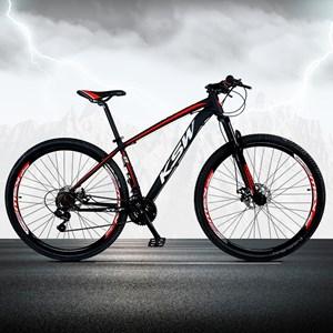 Bicicleta XLT Aro 29 Quadro 15 Alumínio 21 Marchas Suspensão Freio Disco Preto/Vermelho - KSW