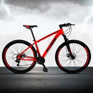 Bicicleta XLT Aro 29 Quadro 15 Alumínio 21 Marchas Suspensão Freio Disco Vermelho/Preto - KSW