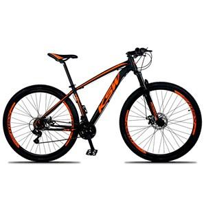 Bicicleta XLT Aro 29 Quadro 17 Alumínio 21 Marchas Suspensão Freio Disco Preto/Laranja - KSW