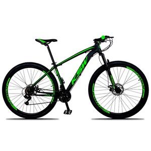 Bicicleta XLT Aro 29 Quadro 17 Alumínio 21 Marchas Suspensão Freio Disco Preto/Verde - KSW