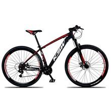 Bicicleta XLT Aro 29 Quadro 17 Alumínio 21 Marchas Suspensão Freio Disco Preto/Vermelho - KSW