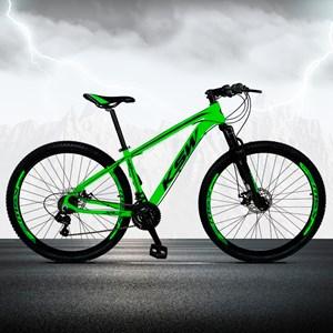 Bicicleta XLT Aro 29 Quadro 17 Alumínio 21 Marchas Suspensão Freio Disco Verde/Preto - KSW