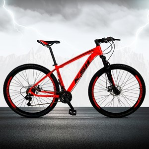 Bicicleta XLT Aro 29 Quadro 17 Alumínio 21 Marchas Suspensão Freio Disco Vermelho/Preto - KSW