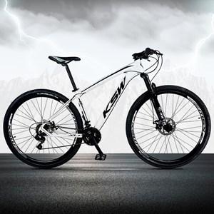 Bicicleta XLT Aro 29 Quadro 19 Alumínio 21 Marchas Suspensão Freio Disco Branco/Preto - KSW