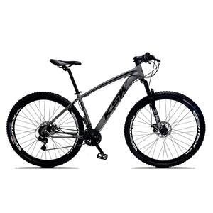 Bicicleta XLT Aro 29 Quadro 19 Alumínio 21 Marchas Suspensão Freio Disco Cinza/Preto - KSW
