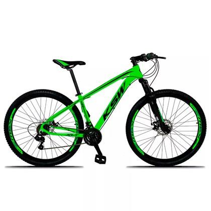 Bicicleta XLT Aro 29 Quadro 19 Alumínio 21 Marchas Suspensão Freio Disco Verde/Preto - KSW