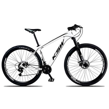 Bicicleta XLT Aro 29 Quadro 21 Alumínio 21 Marchas Suspensão Freio Disco Branco/Preto - KSW